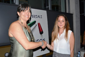 Alessandra Imperiali with a young designer of the Fashion Academy