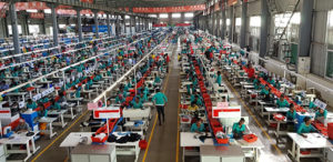 Salaries are the key arbitrage, at least until infrastructure improves. Huajian's show factory in Eastern Industrial Zone.