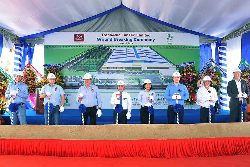 The ground-breaking ceremony for its second tannery in Vietnam - TransAsia TanTec, on 10th June.