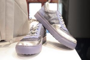 Shoe produced by the Tessitura Attilio Imperiali silk and the Olona textile by Segre e Schieppati